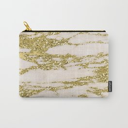 Marble - Gold Marble Glittery Light Pink and Yellow Gold Carry-All Pouch