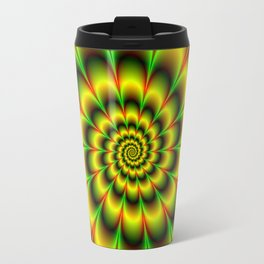 Spiral Rosette in Yellow Green and Red Travel Mug