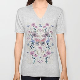 Lilac Butterfly and Flowers Unisex V-Neck