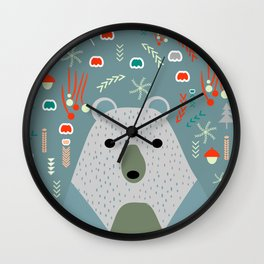 Winter pattern with baby bear Wall Clock