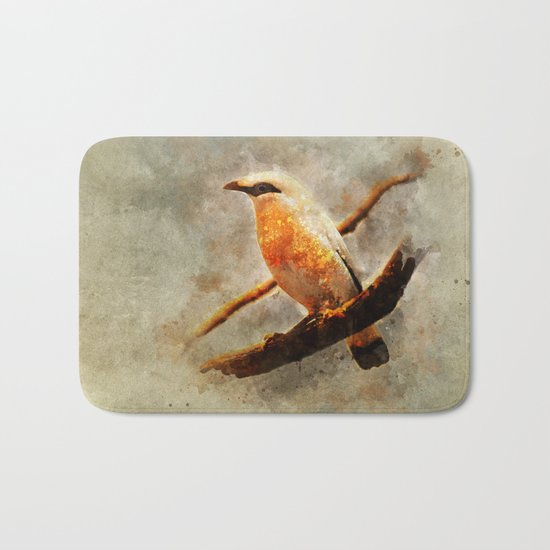 Orange and white bird on the branch Bath Mat