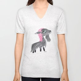 Long-Haired Goat, Pink Unisex V-Neck