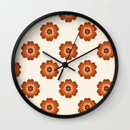 Retro floral flowers pattern minimal 70s style pattern print 1970's Wall Clock