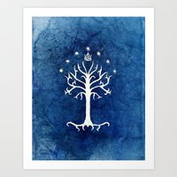 gondor Art Prints featuring The White Tree by Jackie Sullivan