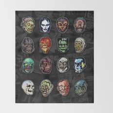 Horror Movie Monsters Masks (color) Throw Blanket