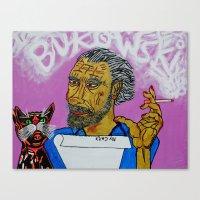 bukowski Canvas Prints featuring Bukowski by Pluto00Art / Robin Brennan