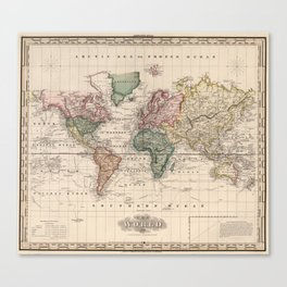 Vintage Map of The World (1833) Canvas Print