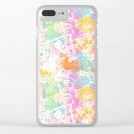 Abstract Paint Splatters Assorted Colors Clear iPhone Case