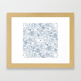 Cephalopods: White and Blue Framed Art Print