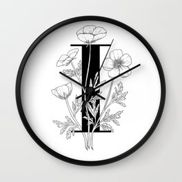 Monogram Letter I with Buttercups Line Art Wall Clock
