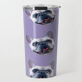 light purple dog pattern cute puppy french bulldog Travel Mug