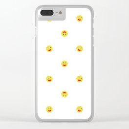 Happy Sun Motif Kids Pattern Clear iPhone Case