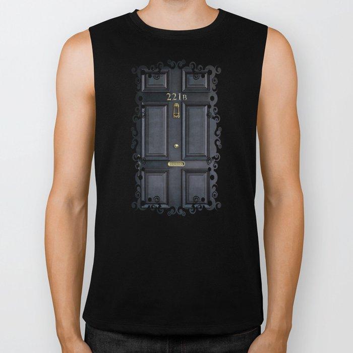 Haunted black door with 221b number Biker Tank
