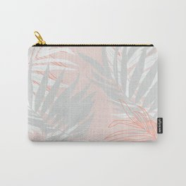 Pink and gray minimalist leaf Carry-All Pouch
