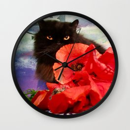 Pomponio Mela loves poppies Wall Clock