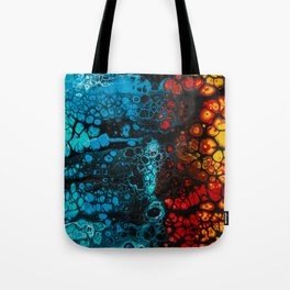 FIRE & ICE Acrylic Pour Painting Tote Bag