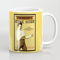 parks and recreation Mugs featuring Ron Swanson  |  Steak House Parody |  Parks and Recreation by Silvio Ledbetter