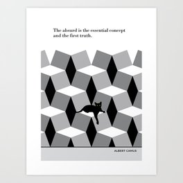 "Albert Camus  ""The absurd is the essential concept"" cat literary quote Art Print"