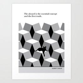 "Albert Camus  ""The absurd is the essential concept"" cat literary quote Art Print"