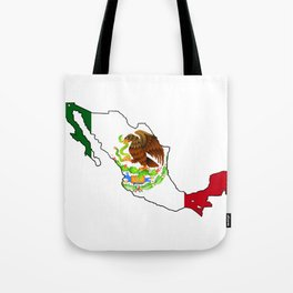 Mexico Map with Mexican Flag Tote Bag