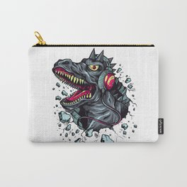 Dino with Headphones Grey Ebony Clay Carry-All Pouch