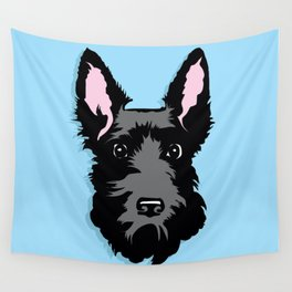 Black Scottie Dog on Blue Background Wall Tapestry