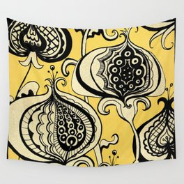 Black and Yellow Floral Wall Tapestry
