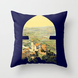 Vintage Litho Travel ad Assisi Italy Throw Pillow