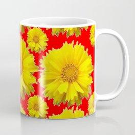 "YELLOW COREOPSIS ""TICK SEED"" FLOWERS RED PATTERN Coffee Mug"
