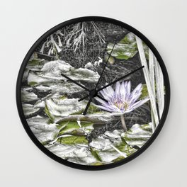 Stunning faded waterlily Wall Clock