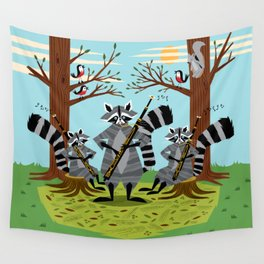 Raccoons Playing Bassoons Wall Tapestry