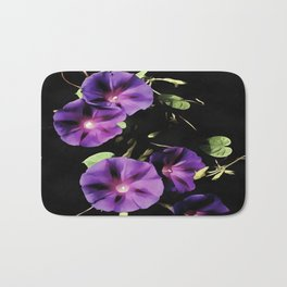 Morning Glory Flower Isolated On Black Bath Mat
