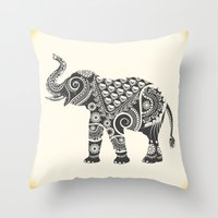ornate elephant Throw Pillows featuring Elephant by famenxt