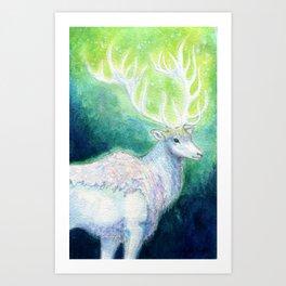 Regal White Stag Art Print