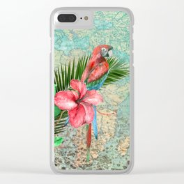 Tropical Map Clear iPhone Case