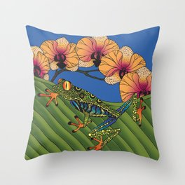 Tree Frog with Orchids Throw Pillow