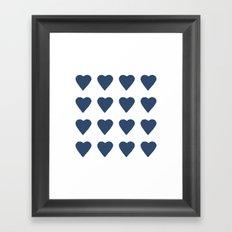 16 Hearts Navy Framed Art Print
