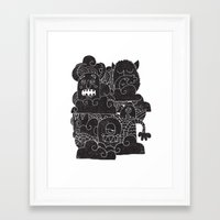 monsters Framed Art Prints featuring MONSTERS by Matthew Taylor Wilson