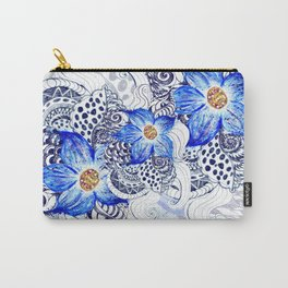 Grunge Blue Acrylic Flowers Carry-All Pouch
