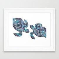 sea turtle Framed Art Prints featuring Sea Turtle by LebensART