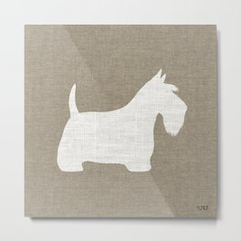 White Scottish Terrier Silhouette Metal Print