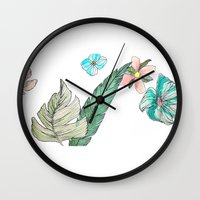 leah flores Wall Clocks featuring flores by Lua Fraga