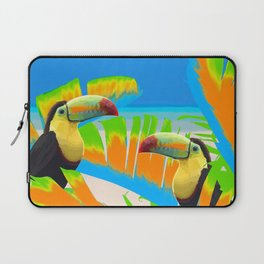 Colorful Toucans Tropical Banana Leaves Pattern Laptop Sleeve