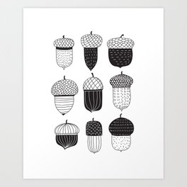 Doodle acorns autumn pattern Art Print