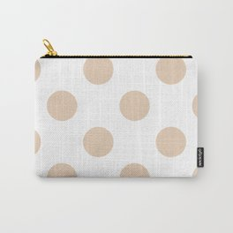 Large Polka Dots - Pastel Brown on White Carry-All Pouch