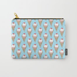 Doodle ice cream pattern on a blue background Carry-All Pouch