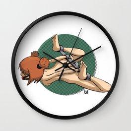 Red-haired girl in steel pranger 2 Wall Clock