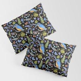 Woodland Stream Pattern Black Pillow Sham