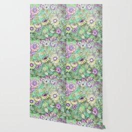 Retro Boho Daisy Floral Wallpaper