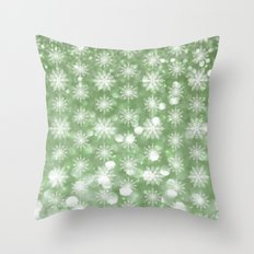 Holiday Mint and Flurries Throw Pillow